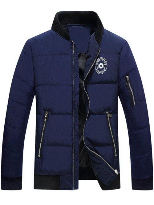 Graphic Printed Stand Collar Quilted Zipper Jacket - DEEP BLUE XL