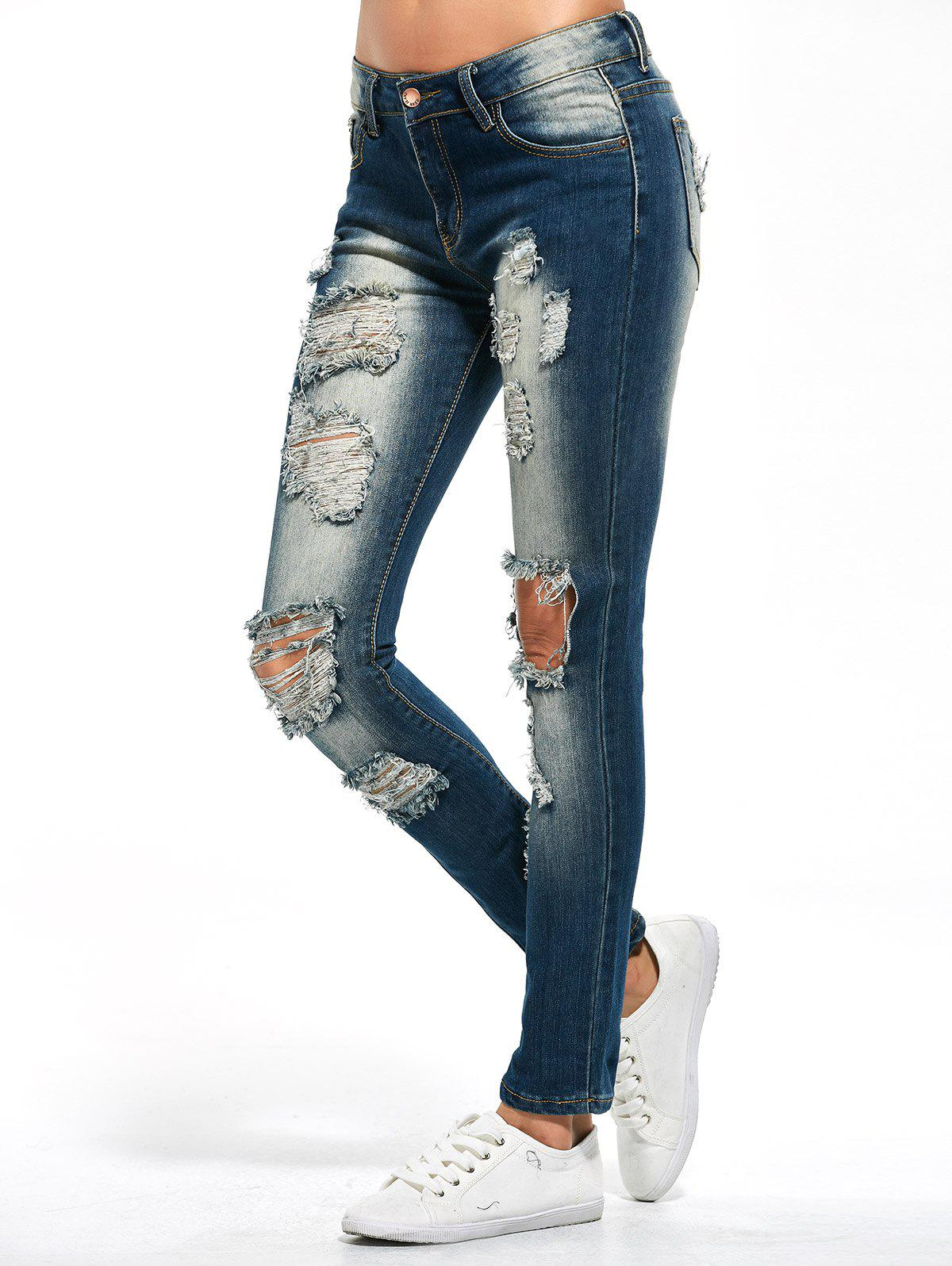 Skinny Distressed Jeans - PURPLISH BLUE XL
