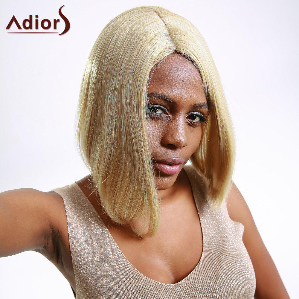 Fashion Women's Short Straight Flaxen Side Bang Synthetic Hair Wig - SHALLOW FLAXEN