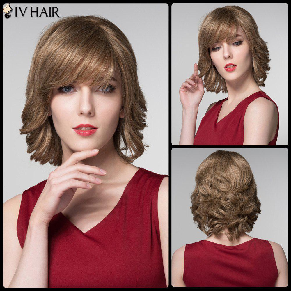 Siv Inclined Bang Wavy Short Fluffy Human Hair Wig - LIGHT CHOCOLATE