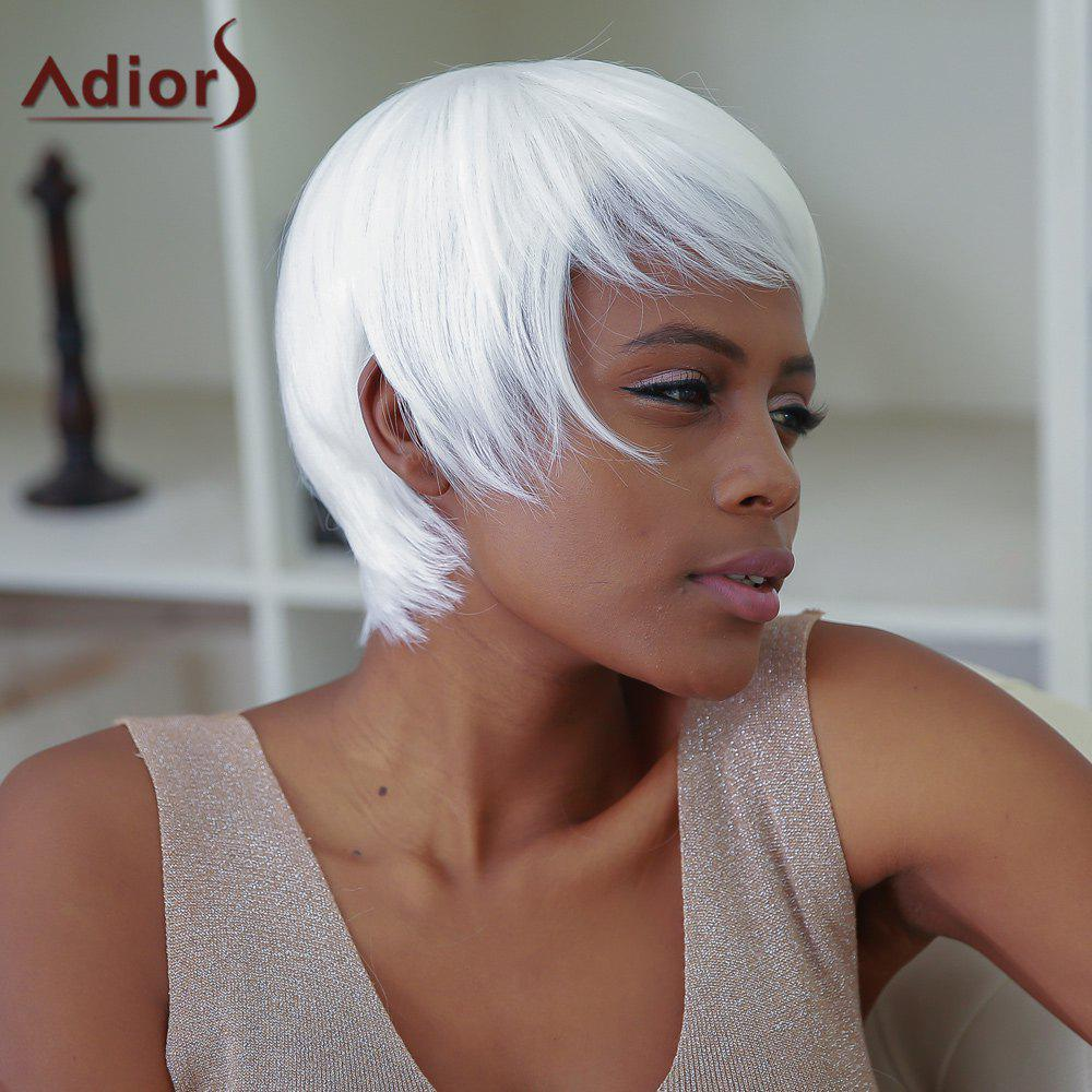 Women's Short White Full Bang Synthetic Hair Wig - WHITE