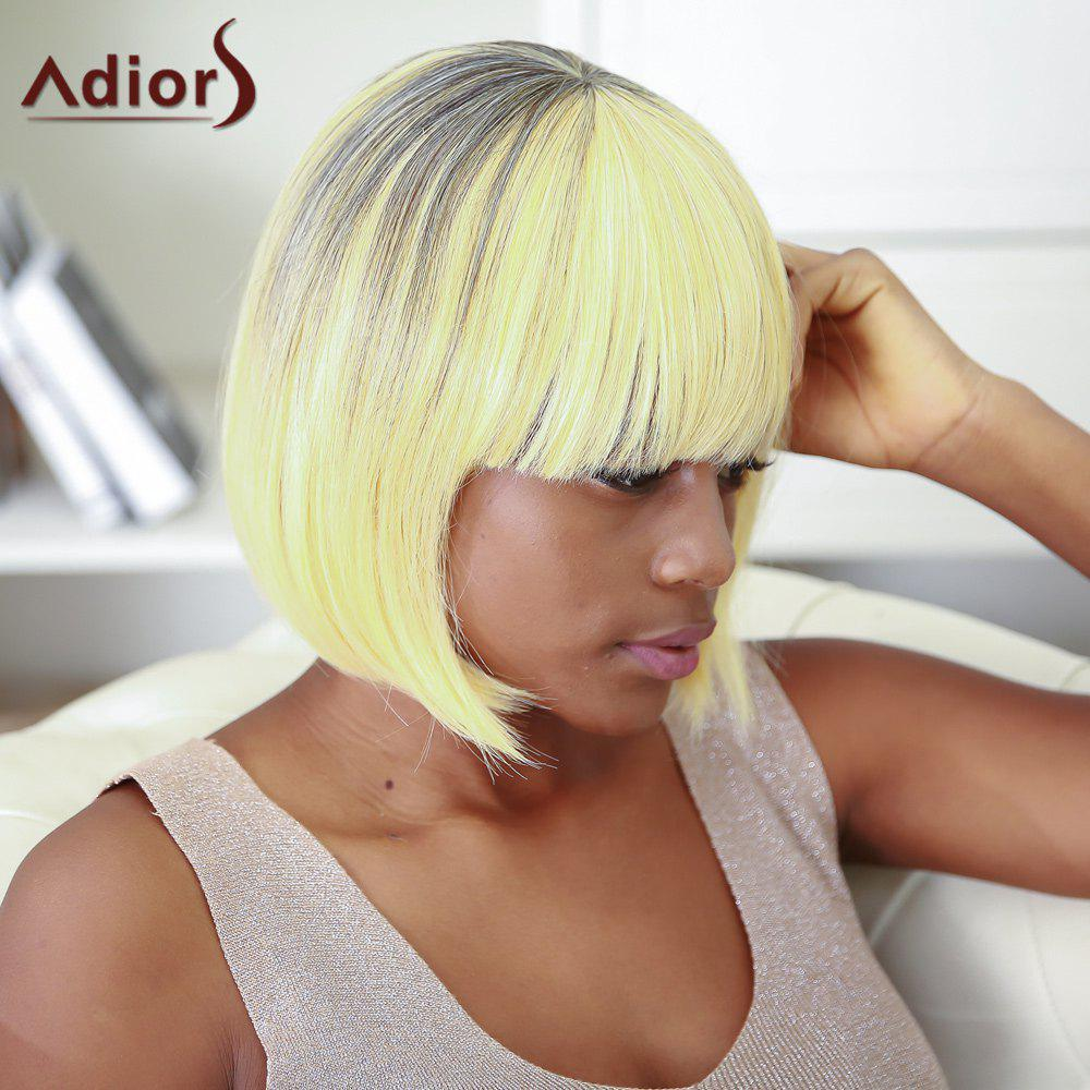 Boutique Women's Short Straight Full Bang Gradient Synthetic Hair Wig - COLORMIX