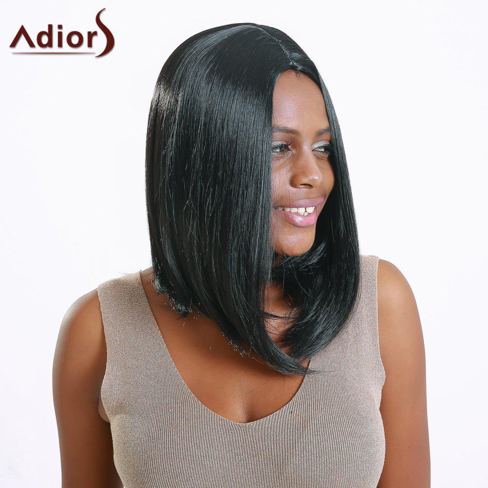 Medium Straight Side Parting High Temperature Fiber Wig - BLACK