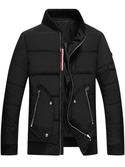 Stand Collar Zipper Up Pocket Quilted Jacket - BLACK M
