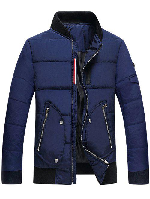 Stand Collar Zipper Up Pocket Quilted Jacket