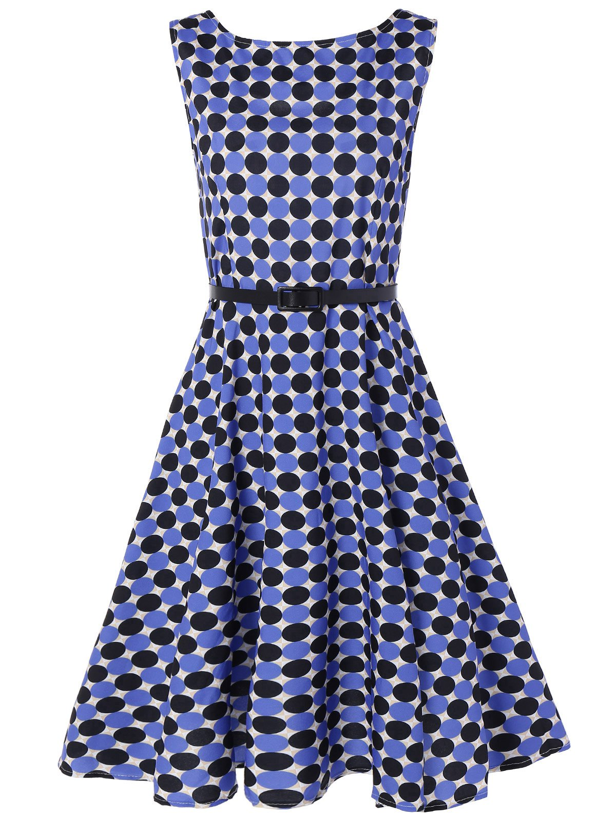 Sleeveless Polka Dot Swing Vintage Dress - BLUE L