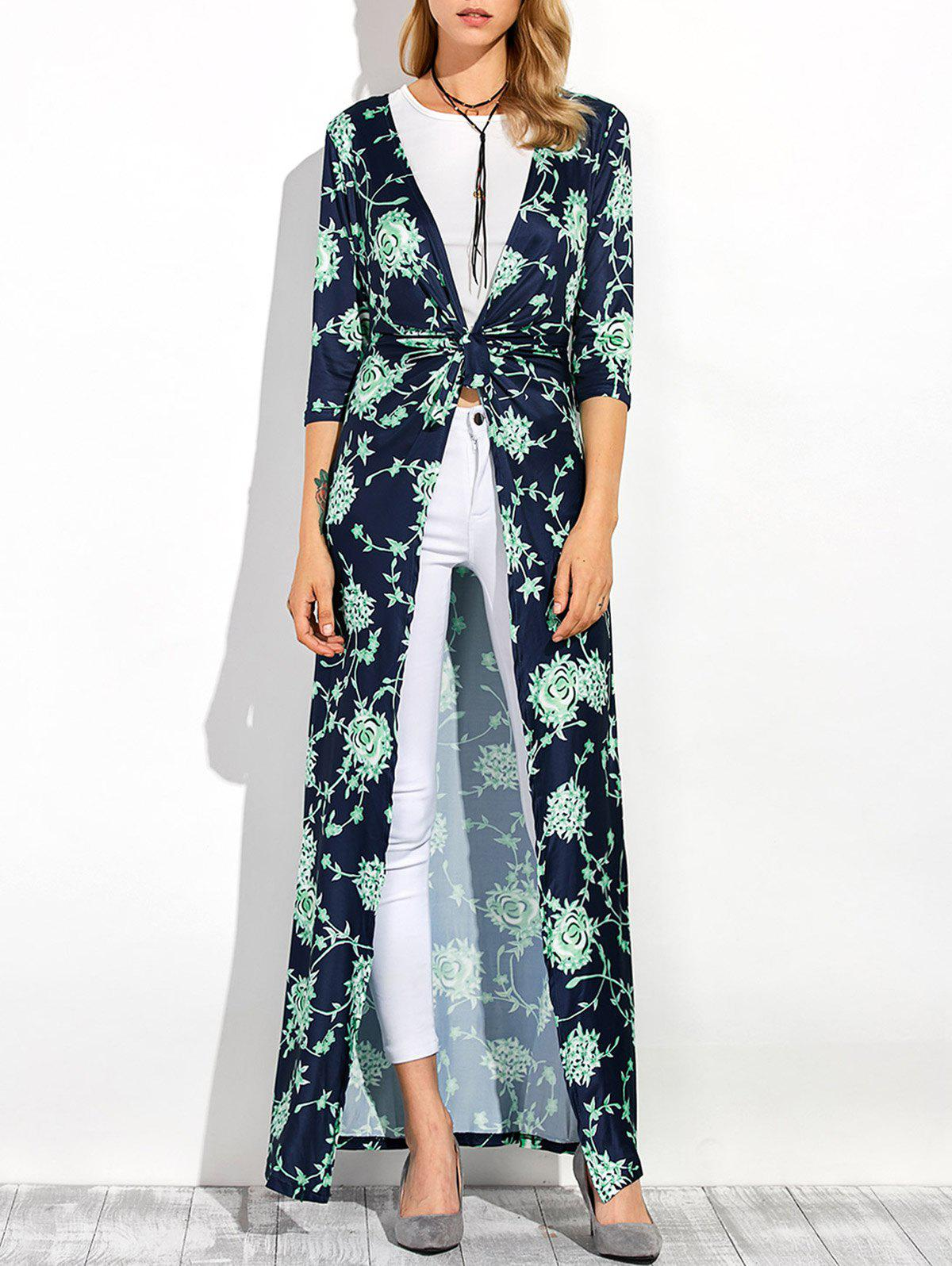 Three Quarter Sleeves Longline Floral Print Duster CoatWomen<br><br><br>Size: S<br>Color: PURPLISH BLUE