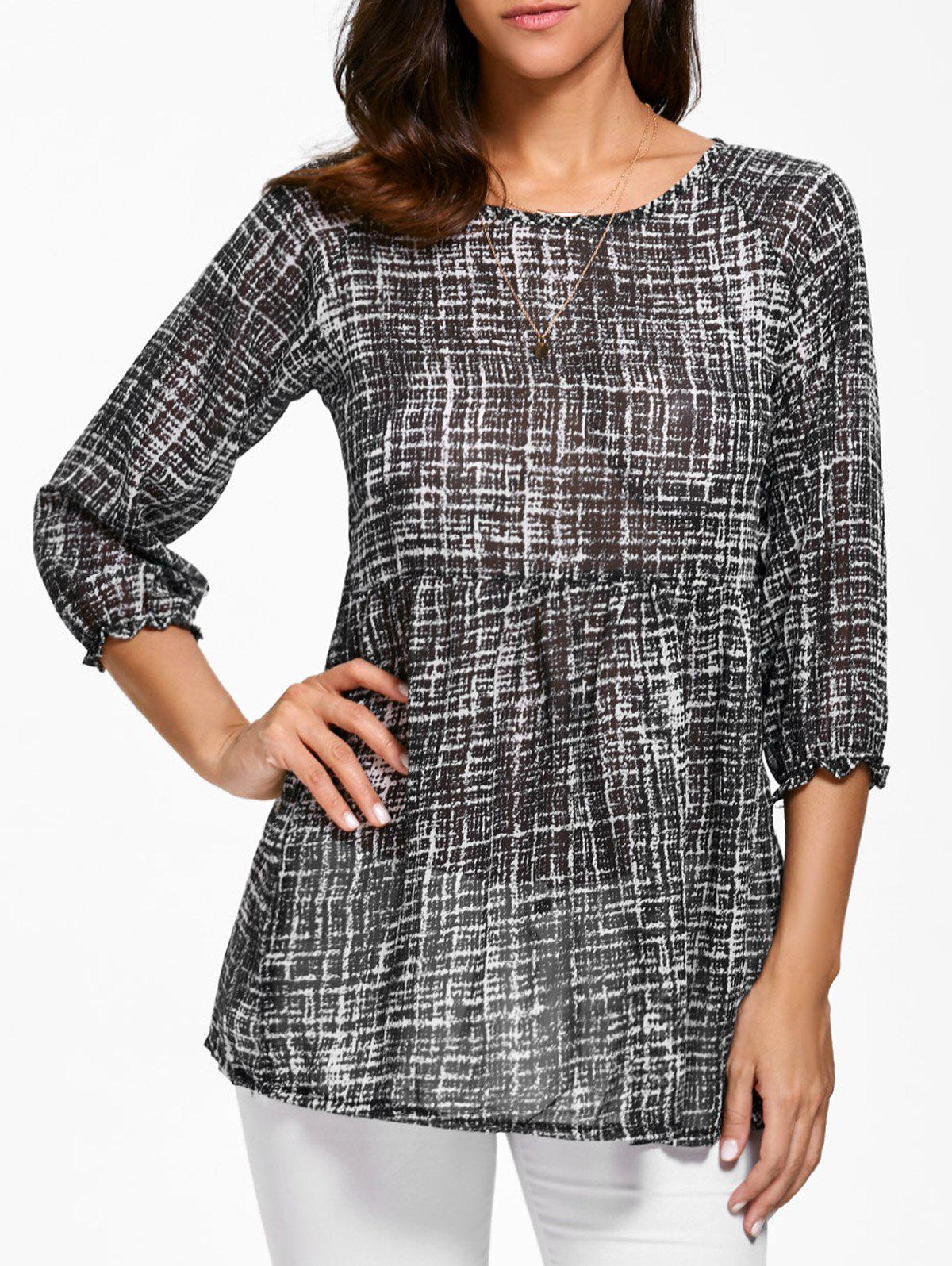 Trendy Style Scoop Collar Abstract Print 3/4 Sleeve T-Shirt For Women - BLACK ONE SIZE