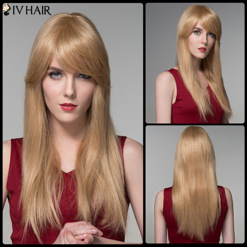 Inclined Bang Long Natural Straight Siv Human Hair Wig - BLONDE