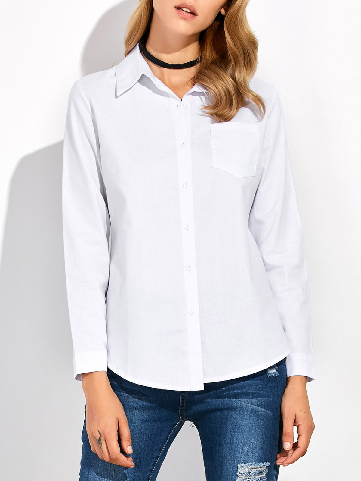Stand collar button up shirt white m in blouses for Stand collar shirt womens