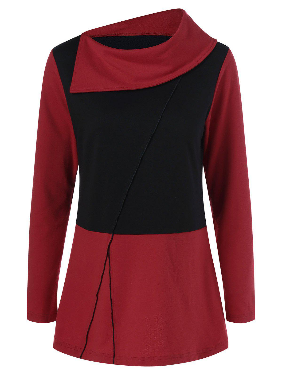 Side Collar T-ShirtWomen<br><br><br>Size: XL<br>Color: RED WITH BLACK
