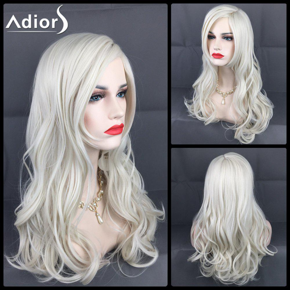 Adiors Long Layered Side Parting Christmas Party Wavy Synthetic WigHair<br><br><br>Color: FROST