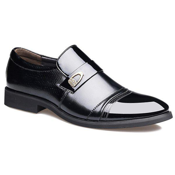 Panels Metallic Square Toe Formal Shoes - BLACK 40