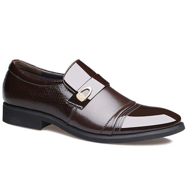 Panels Metallic Square Toe Formal Shoes - BROWN 43
