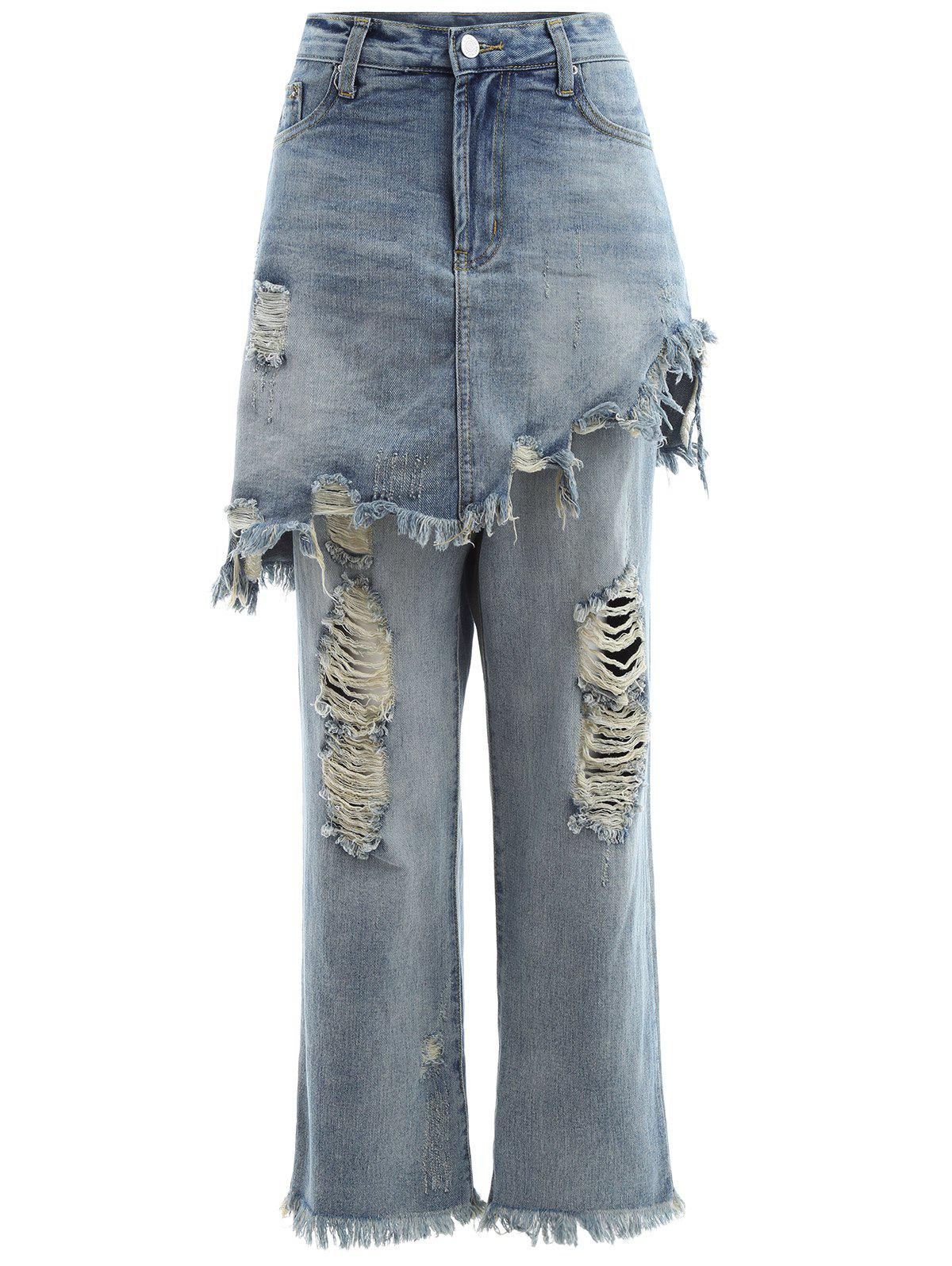 Frayed Ripped Skirted JeansWomen<br><br><br>Size: L<br>Color: LIGHT BLUE