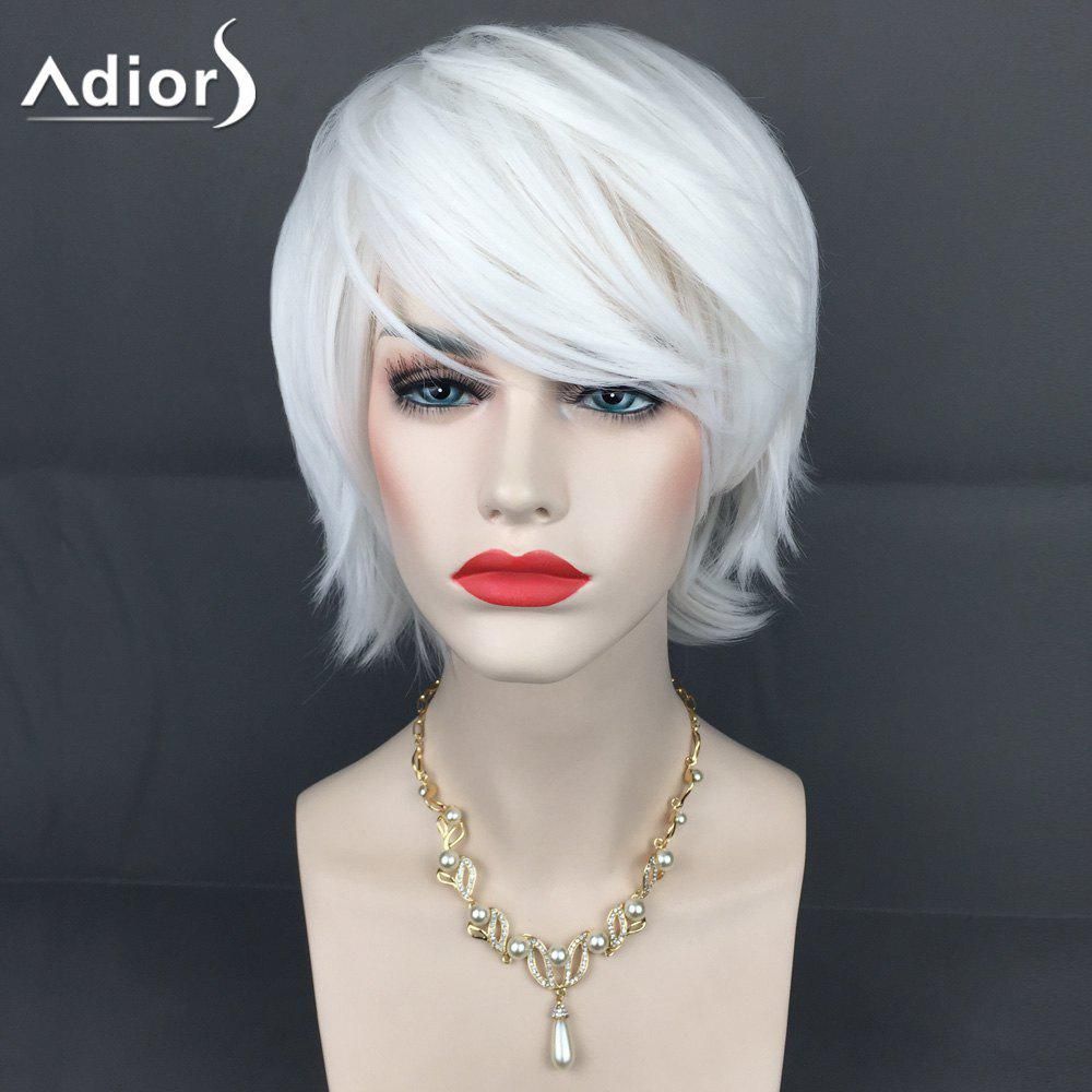 Adiors Short Inclined Bang Straight Layered Synthetic Wig short pixie cut capless straight inclined bang synthetic wig