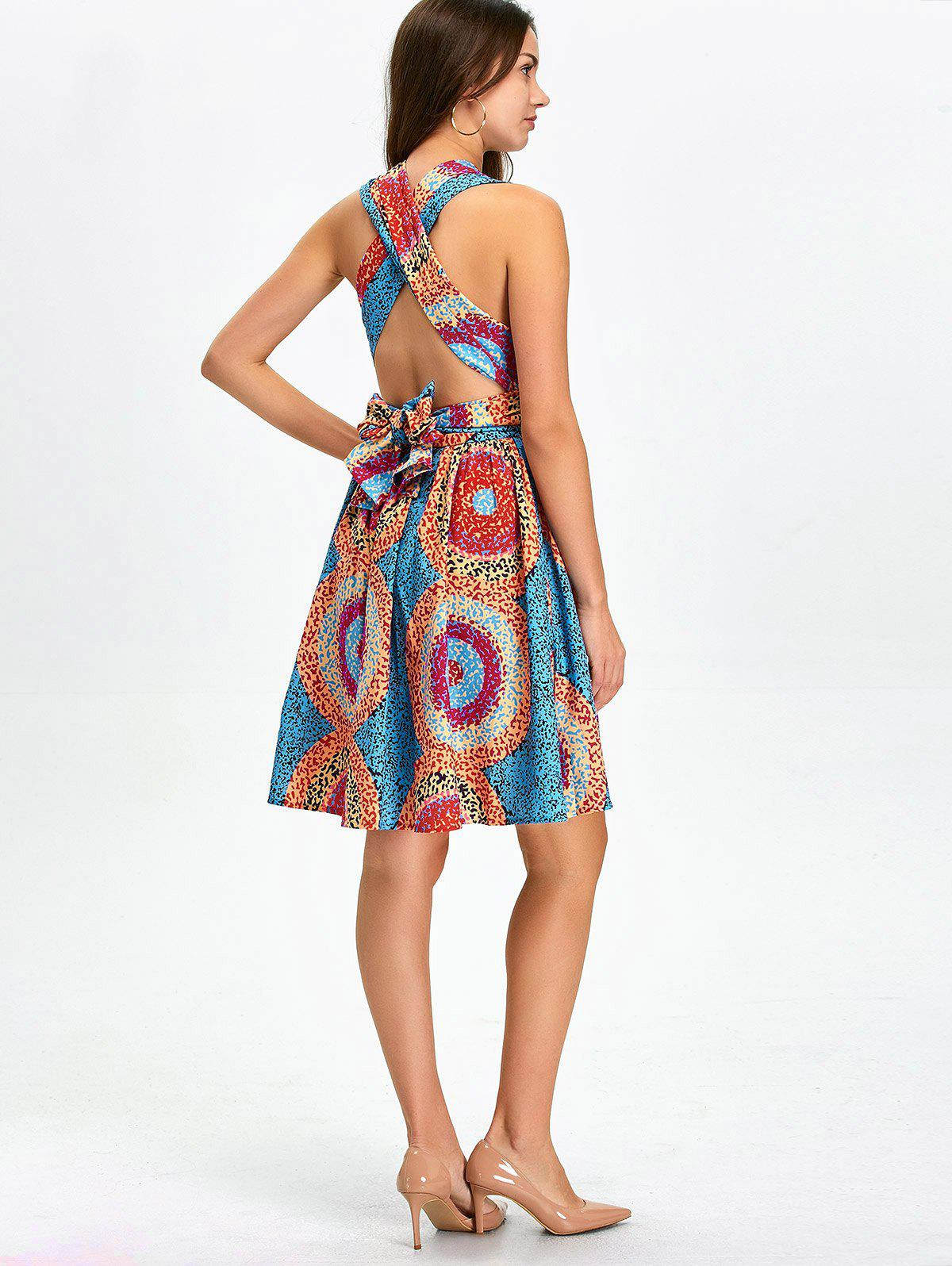 Open Back Knee Length Convertible Cocktail Dress - multicolor L