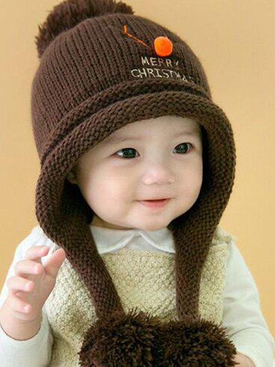 Christmas Elk Pattern Knitted Plush Baby Pom Hat - COFFEE
