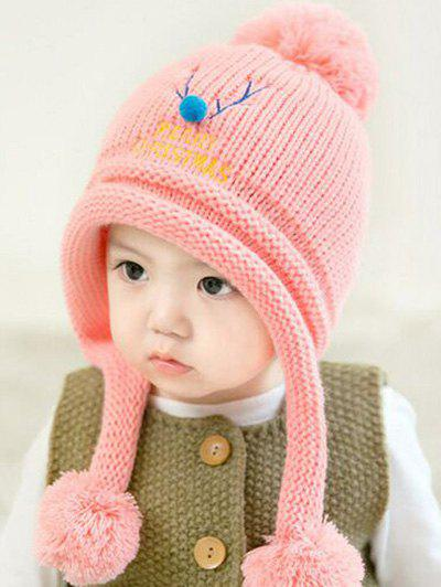 Christmas Elk Pattern Knitted Plush Baby Pom Hat - PINK