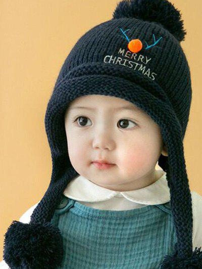 Christmas Elk Pattern Knitted Plush Baby Pom Hat - CADETBLUE