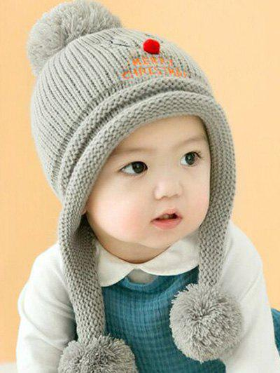 Christmas Elk Pattern Knitted Plush Baby Pom Hat - GRAY