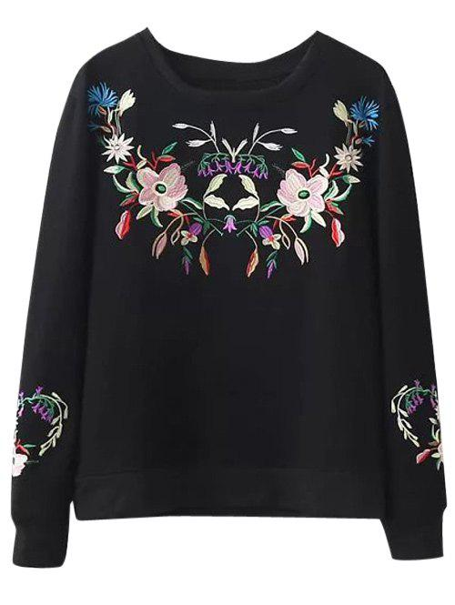 Crew Neck Floral Embroidery Sweatshirt - BLACK S