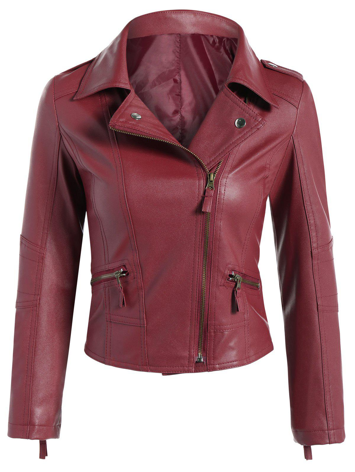 Faux Leather Asymmetric Zip Short Biker Jacket - DARK RED S