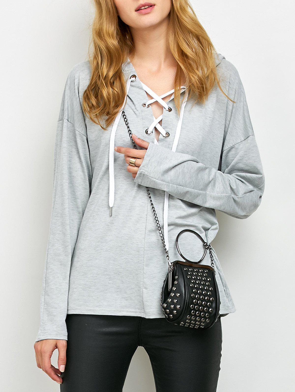 Lace Up Long Sleeve Hooded T Shirt - GRAY L