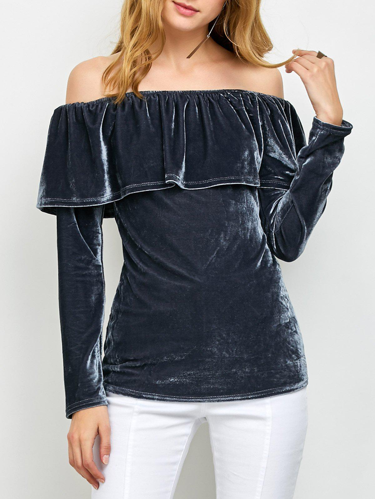 Off Shoulder Ruffles Velvet T-Shirt - GRAY S
