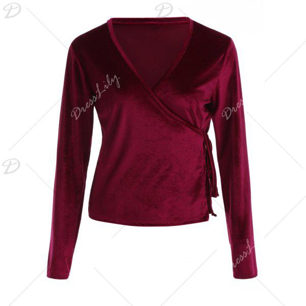 Buy Long Sleeved Velvet Wrap Top WINE RED