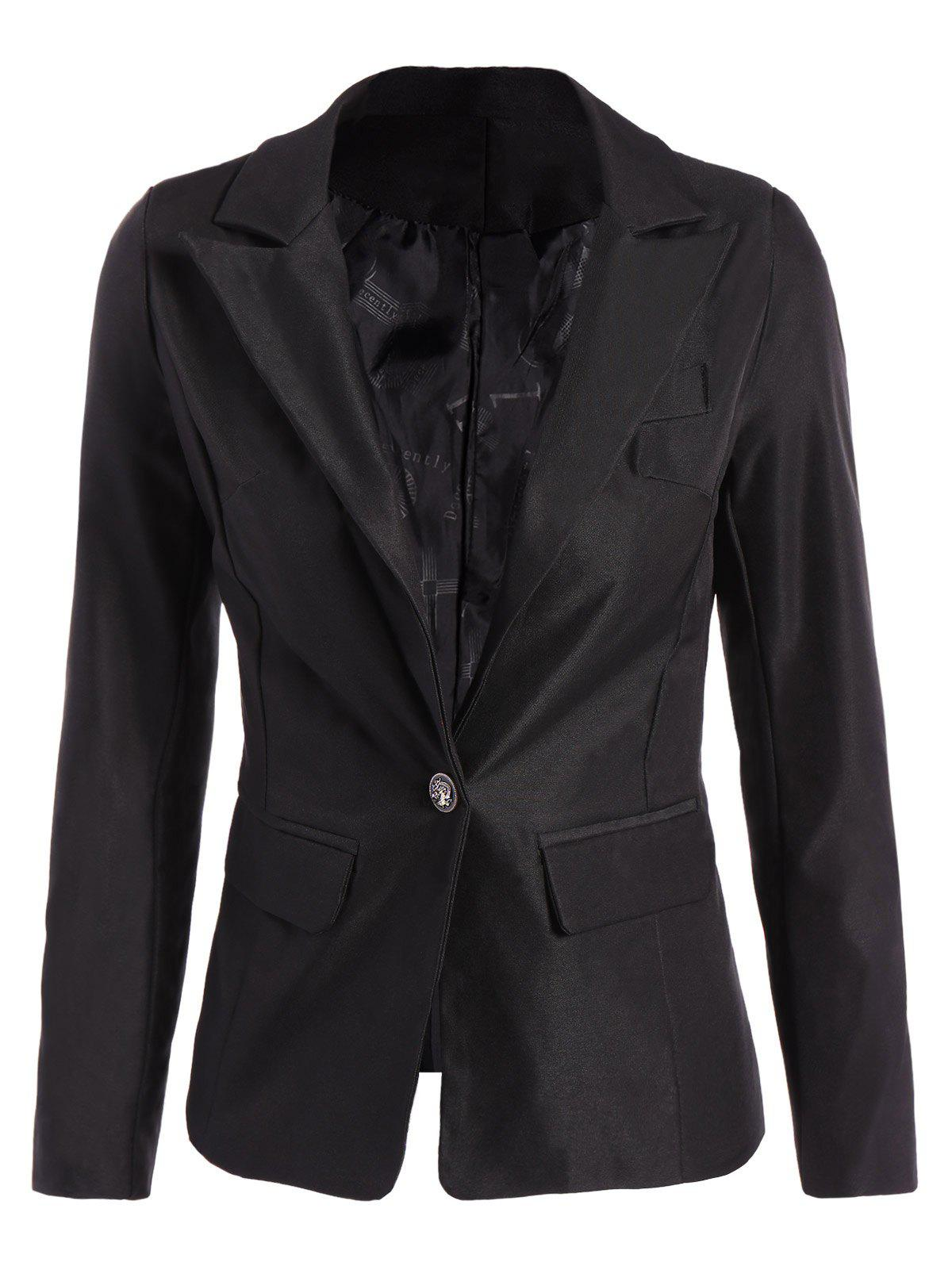 Lined One Button Blazer - BLACK 3XL