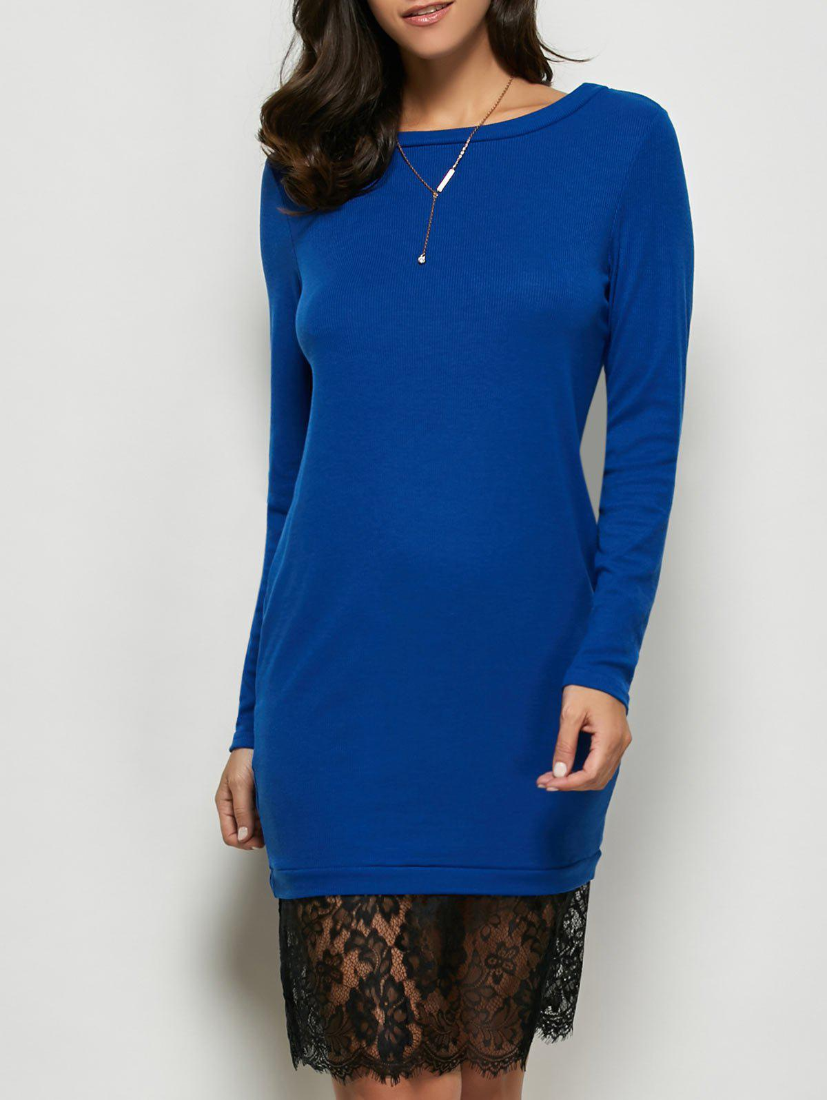 Lace Panel Long Sleeve Pullover Dress - ROYAL M