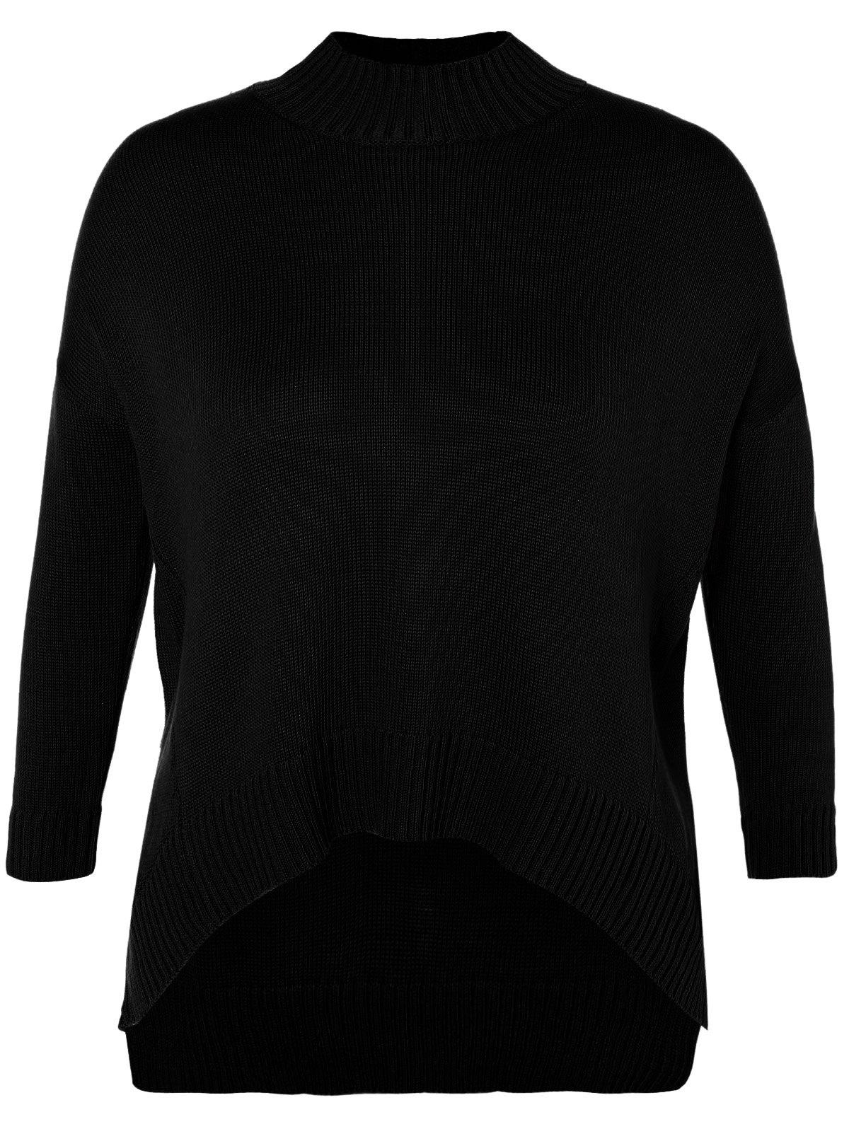 Funnel Neck Plus Size High Low Sweater - BLACK 3XL
