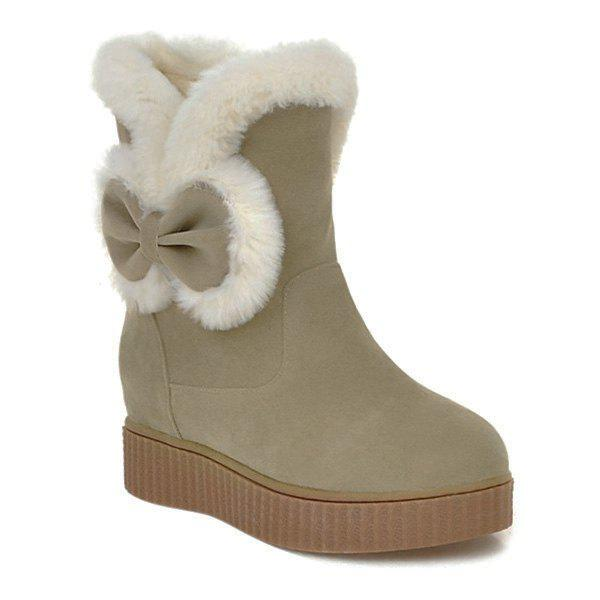 Increased Internal Faux Fur Bowknot Snow Boots faux fur knitted bowknot snow boots
