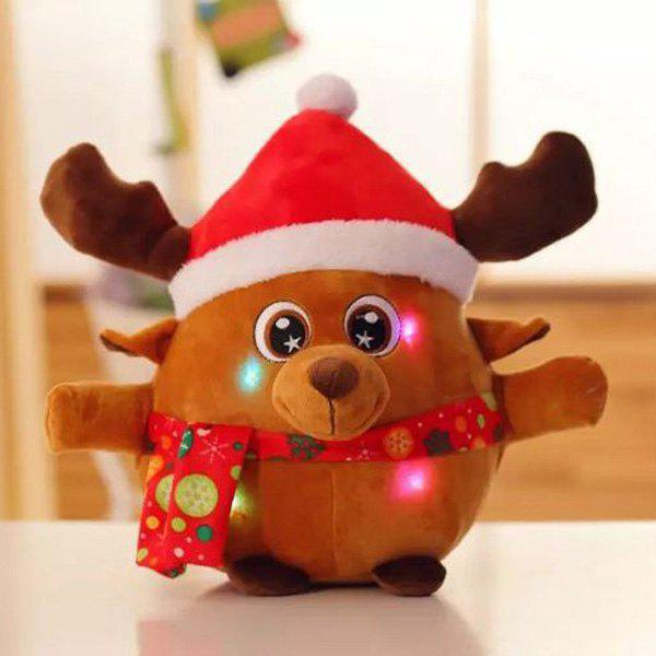 Christmas Gift Elk Singing Flash Plush Stuffed Doll - EARTHY