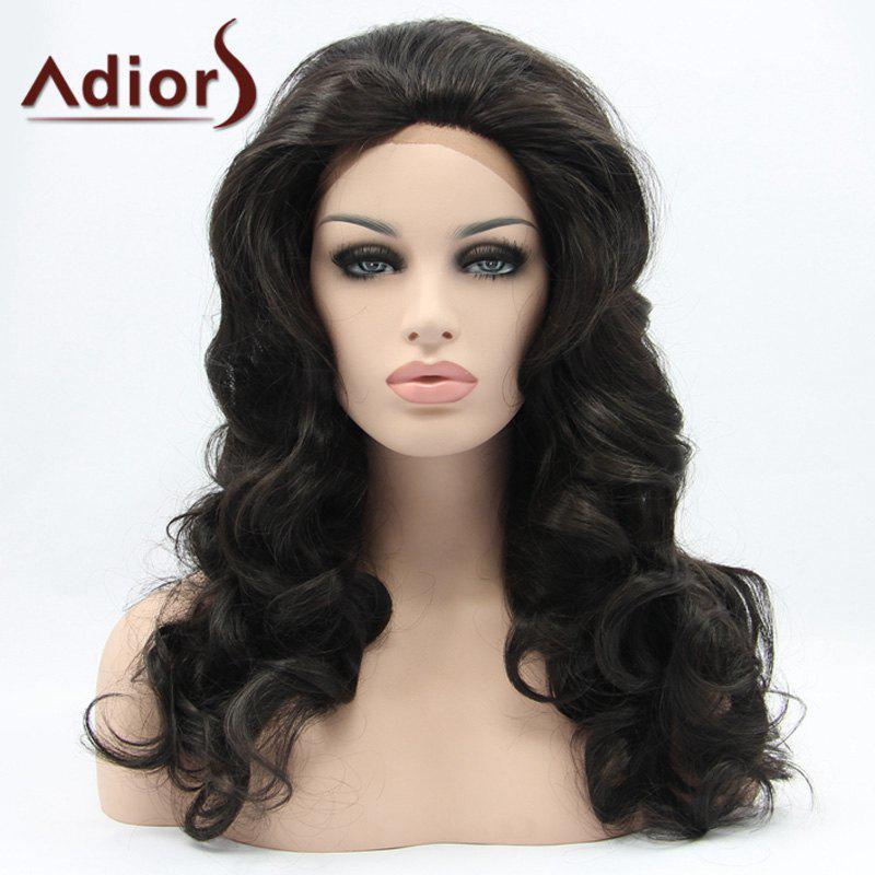 Long Wavy Adiors Hair Lace Front Synthetic Wig - BLACK