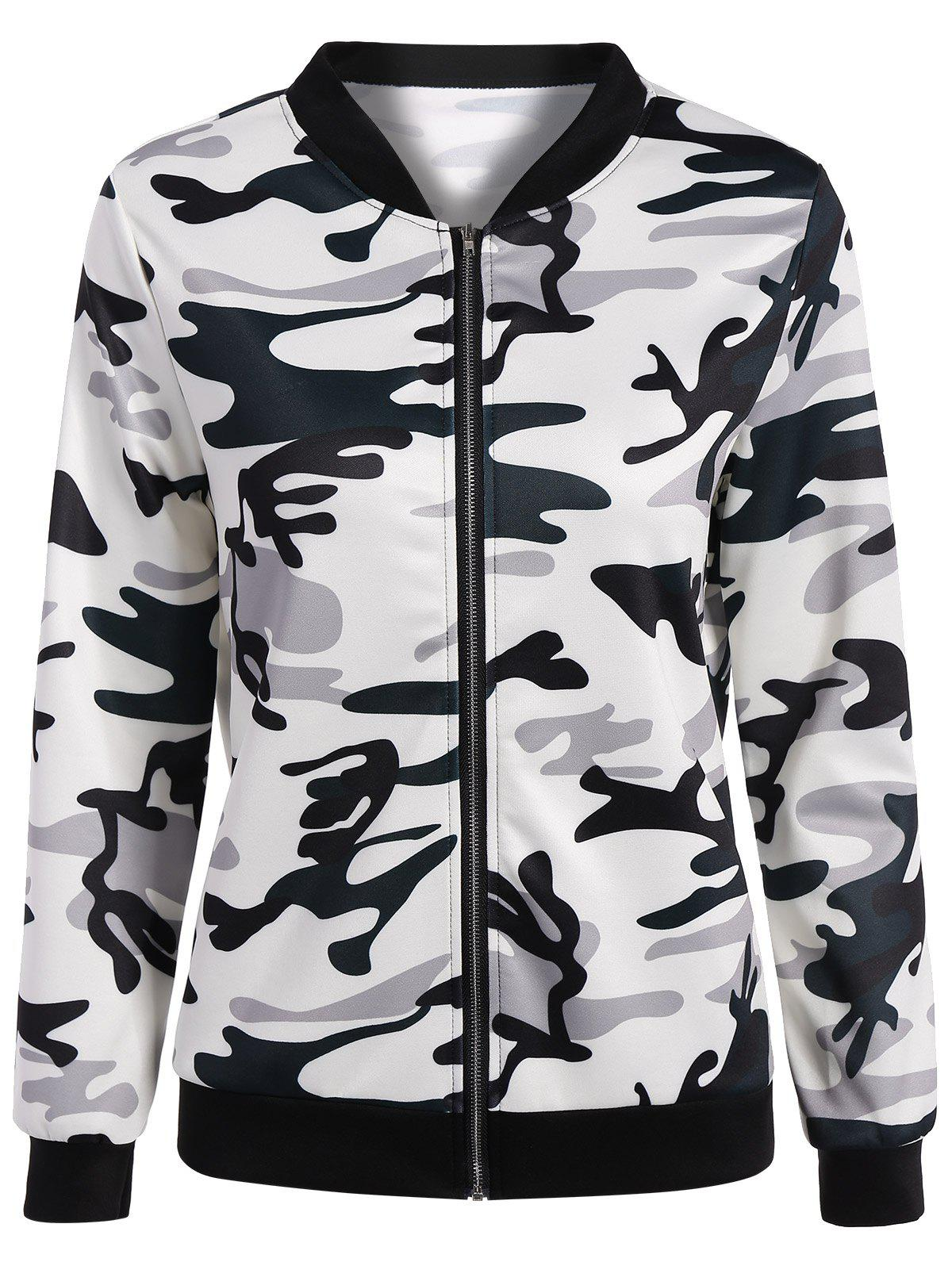 Camouflage Zippered Bomber Jacket - WHITE 2XL