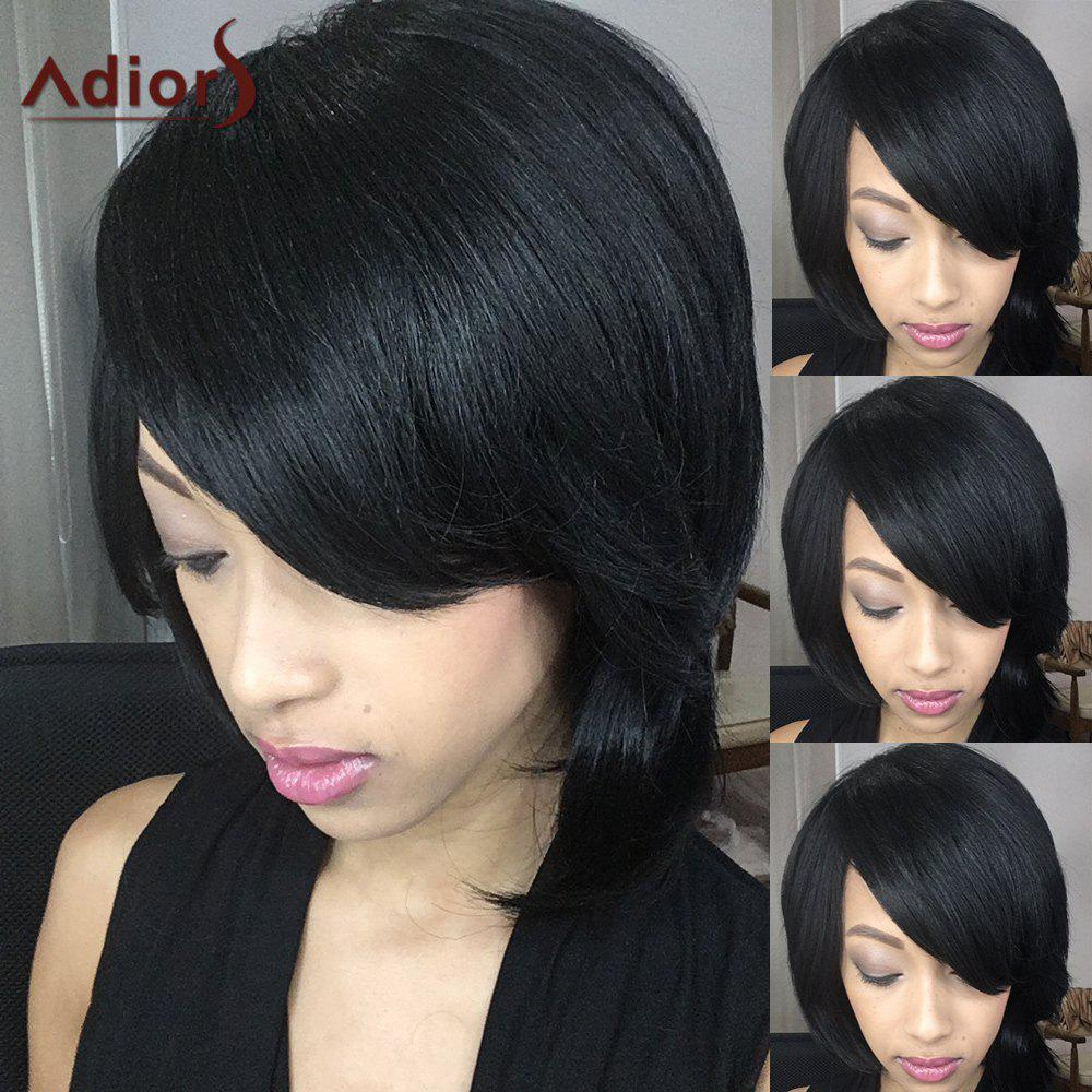 Short Adiors Fluffy Straight Oblique Bang Synthetic Wig