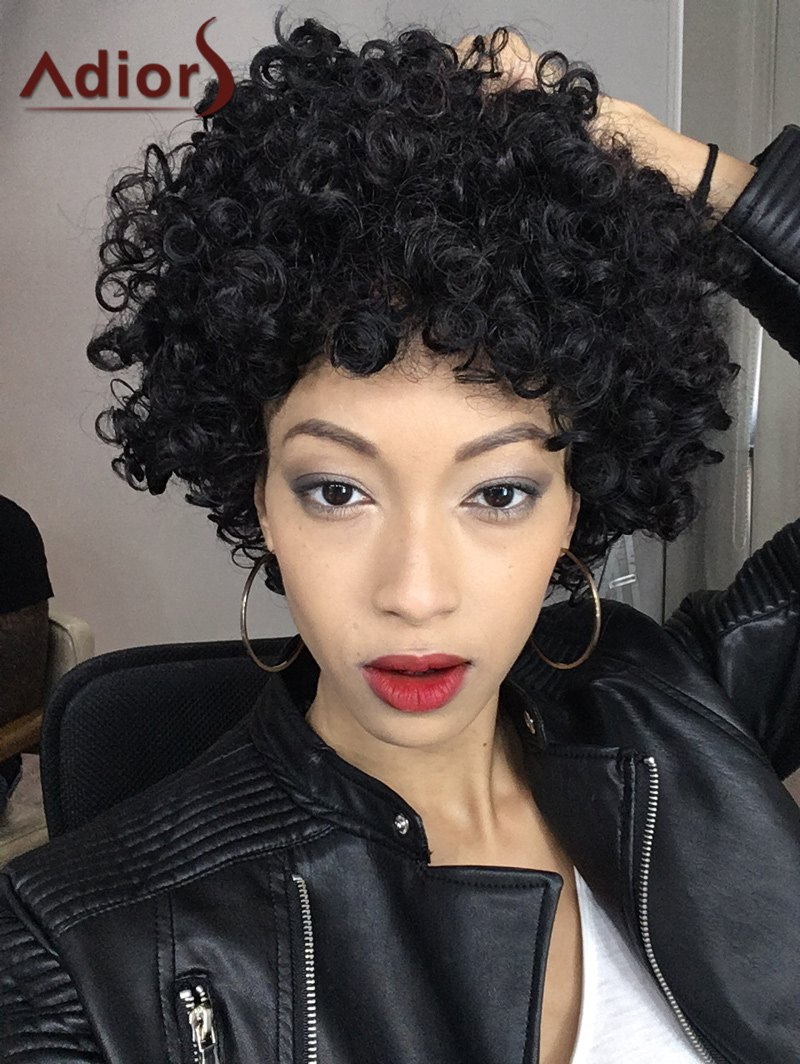Short Adiors Shaggy Full Bang Afro Curly Synthetic Hair Wig - BLACK