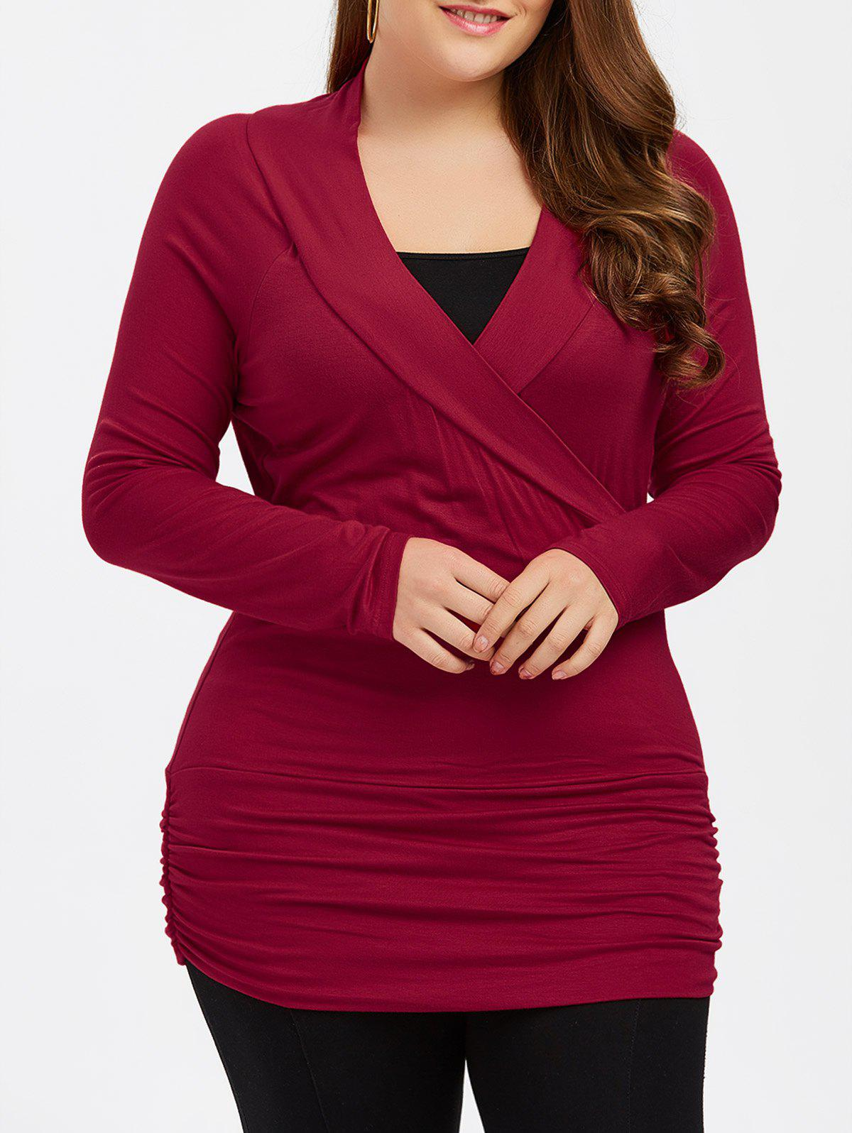 Plus Size Ruched Fitted T-ShirtWomen<br><br><br>Size: 4XL<br>Color: BURGUNDY