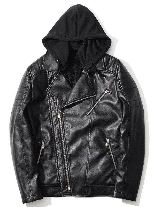 Hooded Pocket Asymmetrical Zip Up PU Leather Jacket