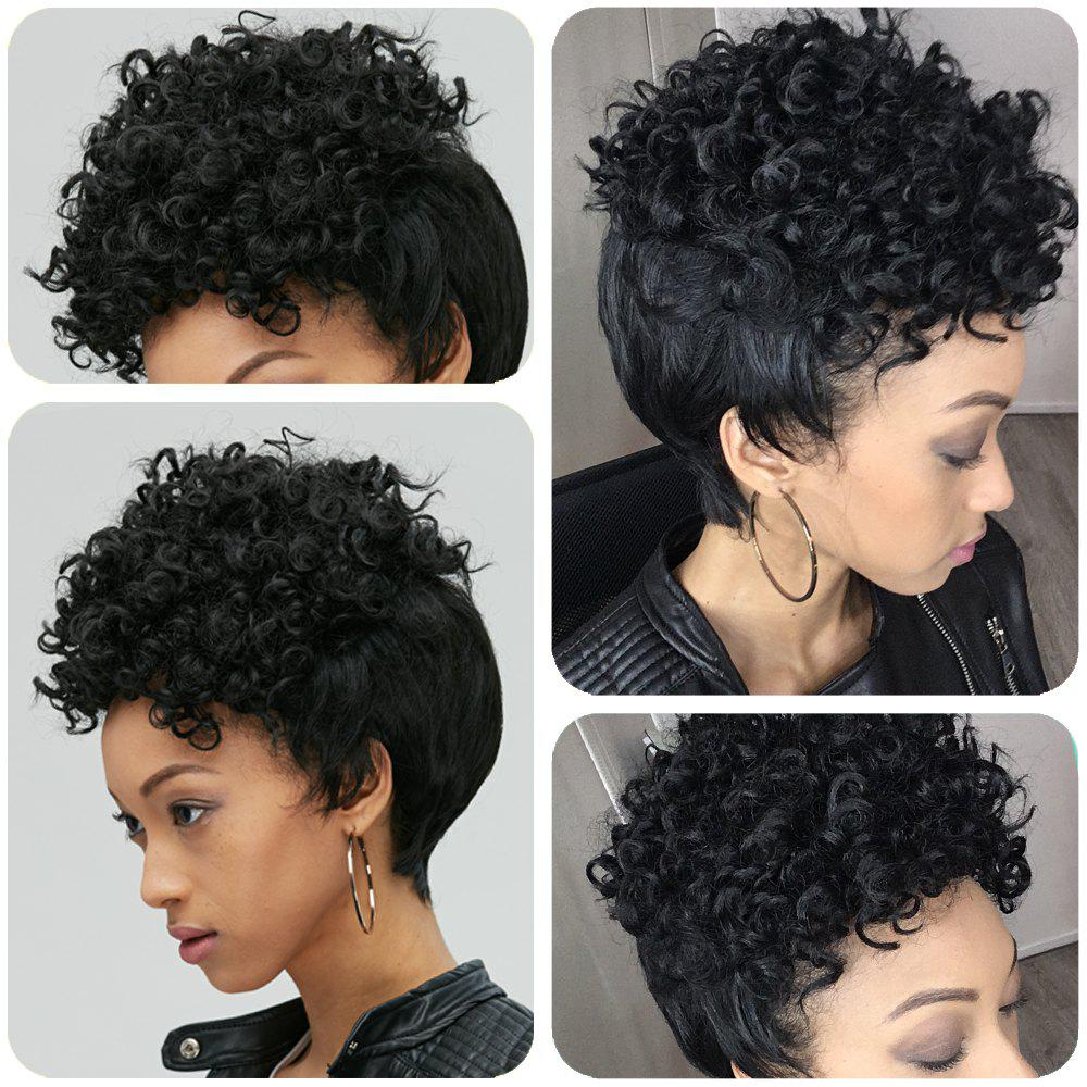 Adiors Pixie Cut Short Curly Side Bang Synthetic WigHair<br><br><br>Color: BLACK