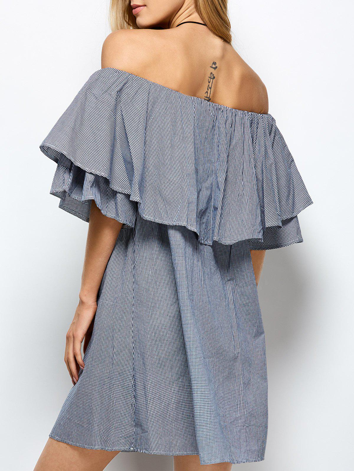 Ruffles Off The Shoulder Dress - BLUE/WHITE M