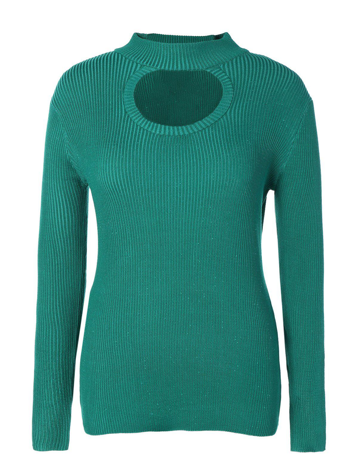 Cut Out Chest Plus Size Knitwear - GREEN 2XL
