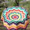 Chevron Wave Cut Crochet Knitting Round Throw Blanket - COLORMIX