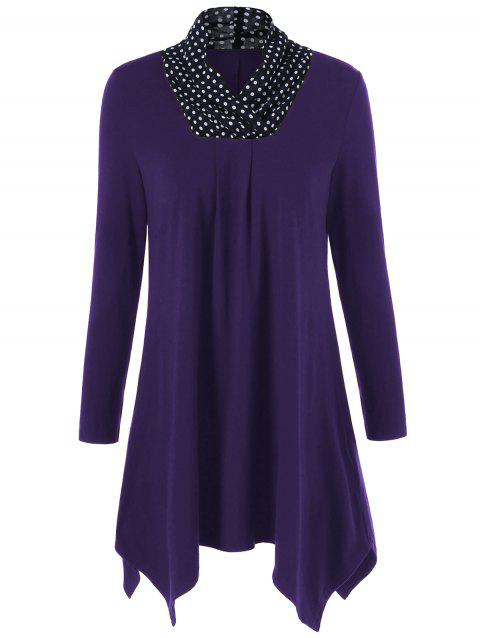 Polka Dot Patchwork Asymmetrical Tee - DEEP PURPLE L