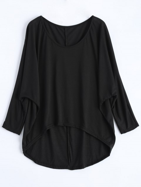 Dolman Sleeve Asymmetrical Tee - BLACK S