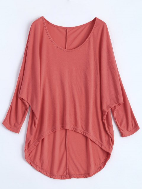 Dolman Sleeve Asymmetrical Tee - WATERMELON RED XL