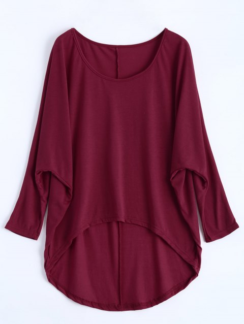 Dolman Sleeve Asymmetrical Tee - WINE RED 2XL