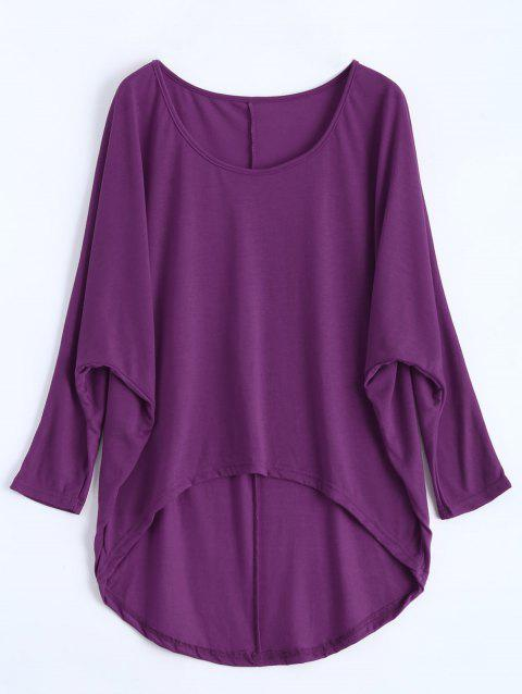 Dolman Sleeve Asymmetrical Tee - PURPLE L